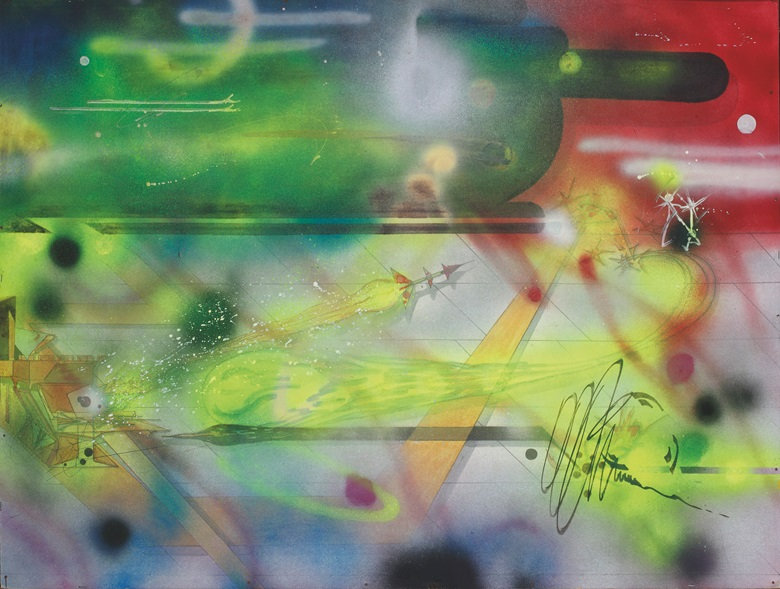 Rammellzee (1960–2010), Sectioners Houseing the House, circa 1980s. Signed with the artist's monogram (lower left quadrant); titled 'Sectioners Houseing the House' (on the reverse). Spray paint, acrylic and pen on card. 29¾ x 39¾ in (75.5 x 101 cm). Estimate $3,000-5,000. This work is offered in first open  Online, 4-13 April