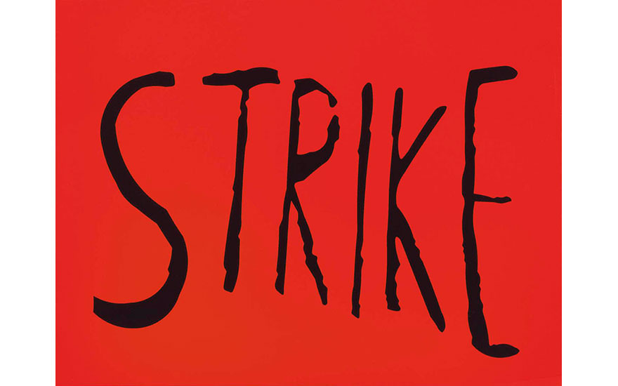 .hero-container .image-preview-container .image-previewbefore { background none!important; }  Sam Durant (b.  1961), Strike, 2003. Vinyl letters on lightbox, 47¼ x 61¼ x 11 in (120