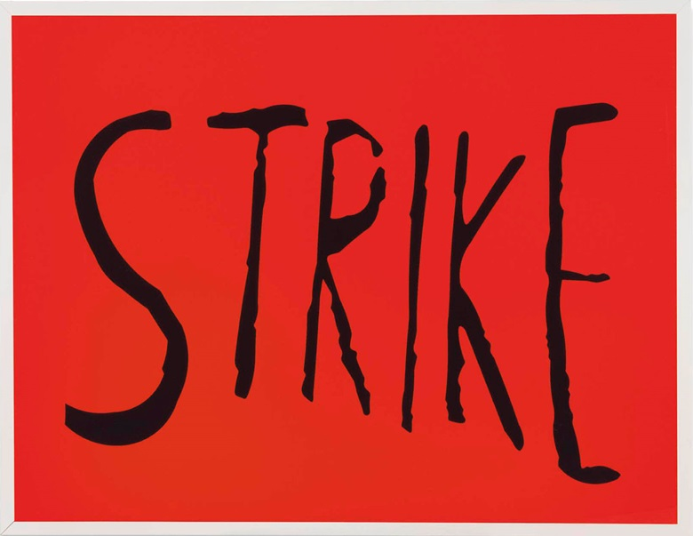 Sam Durant (b.  1961), Strike, 2003. Vinyl letters on lightbox, 47¼ x 61¼ x 11 in (120 x 155.7 x 27.8 cm). This lot was offered in First Open on 5 April 2017 at Christie's in London and sold for £12,500