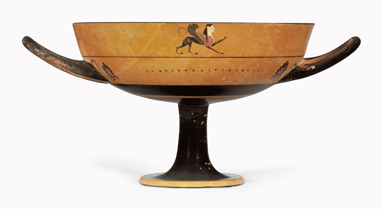 An Attic black-figured lip-cup. Attributed to the Tleson Painter, c. 6th century BC. 8¼ in (21 cm) diameter, excluding handles. Estimate $15,000-20,000. This lot is offered in Antiquities on 25 April 2017 at Christie's in New York, Rockefeller Center