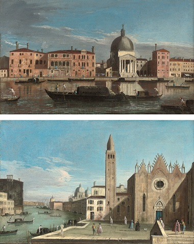 Apollonio Domenichini (formerly known as The Master of the Langmatt Foundation views) (Venice c. 1740-1770), The Grand Canal, Venice, looking west towards San Simeone Piccolo, and The Grand Canal, Venice, looking east with the Scuola della Carità. Oil on canvas. 12½ x 19½ in (31.8 x 49.6 cm). A pair. Sold for £19,700 on 31 October 2007