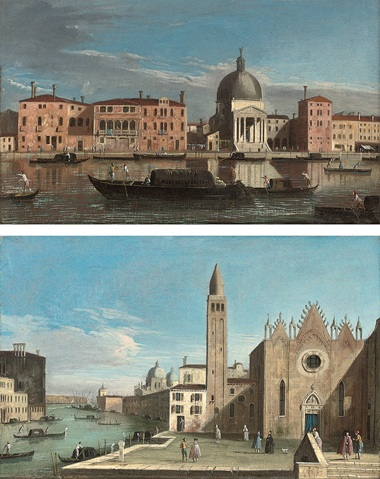 Apollonio Domenichini (formerly known as The Master of the Langmatt Foundation) (Venice c. 1740-70), The Grand Canal, Venice, looking west towards San Simeone Piccolo, and The Grand Canal, Venice, looking east with the Scuola della Carità. Oil on canvas. 12½ x 19½ in (31.8 x 49.6 cm). A pair. Sold for £19,700 on 31 October 2007 at Christie's in London