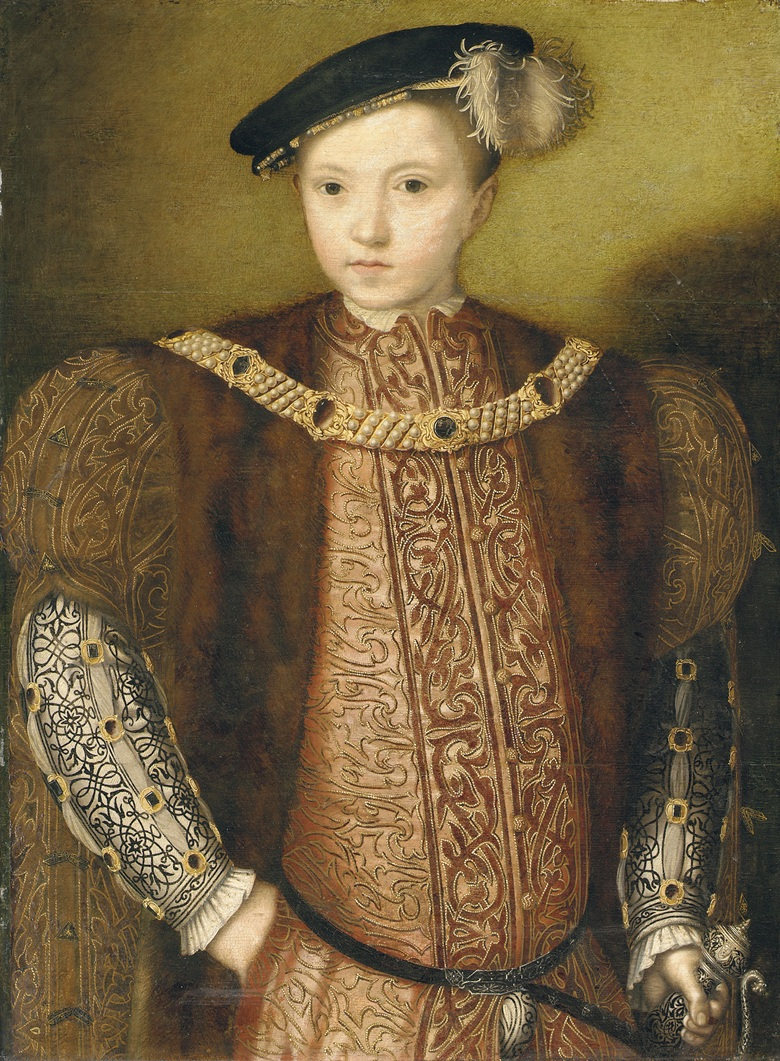 English School, c. 1547-49, Portrait of King Edward VI, half-length, in an elaborately embroidered red doublet, a white shirt with slashed sleeves and a fur-trimmed gown, with a black hat and wearing a jewelled collar, holding the hilt of an elaborately decorated rapier in his left hand. Oil on panel. 27¾ x 20½ in (70.5 x 52 cm). Sold for £621,250 on 9 June 2004 at