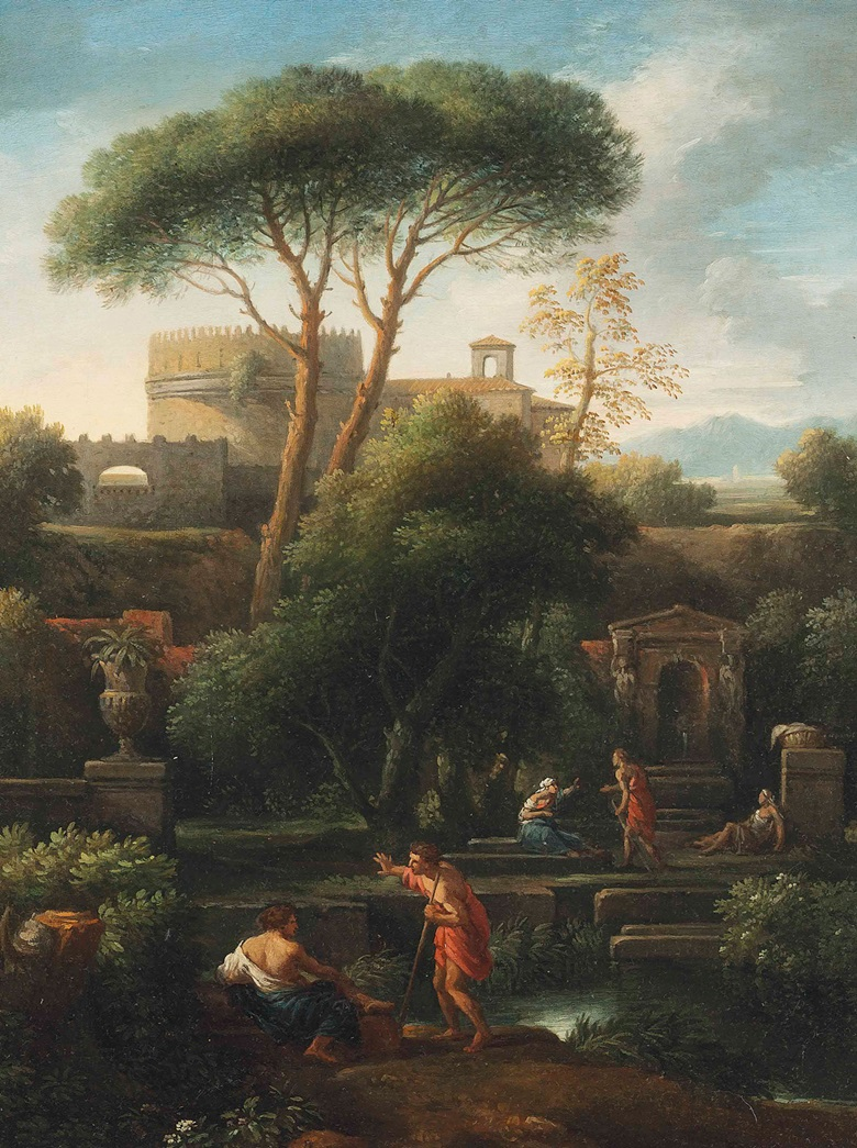 Jan Frans van Bloemen, called L'Orizzonte (Antwerp 1662-1749 Rome), An Italianate landscape with washerwomen and other figures conversing by a stream, classical buildings including the tomb of Cecilia Metella beyond. Oil on canvas. 25½ x 19⅜ in (64.8 x 49.2 cm). Sold for £16,250 on 29 October 2015 at Christie's in London