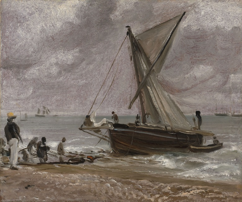 John Constable, R.A. (East Bergholt, Suffolk 1776-1837 Hampstead), Beaching a Boat, Brighton. Oil on paper, laid down on canvas. 10¼ x 12 in (26.1 x 30.4 cm). Sold for £665,000 on 8 December 2016 at Christie's in London