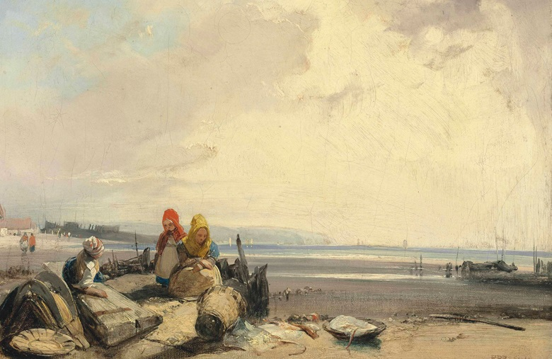 Richard Parkes Bonington (Arnold 1802-28 London), On the Côte d'Opale, Picardy. Oil on canvas, unlined. 9½ x 13 in (24.2 x 33.1 cm). Sold for £1,370,500 on 30 June 2016 at Christie's in London