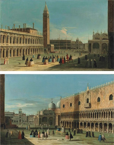 Apollonio Domenichini (formerly known as The Master of the Langmatt Foundation) (Venice c. 1740-1770), The Piazzetta, Venice, with figures conversing near the Libreria and the Campanile; and The Piazetta, Venice, with figures watching a puppet show and others conversing before the Ducal Palace and St. Mark's Basilica. Oil on canvas. 14⅛ x 22⅜ in (35.6 x
