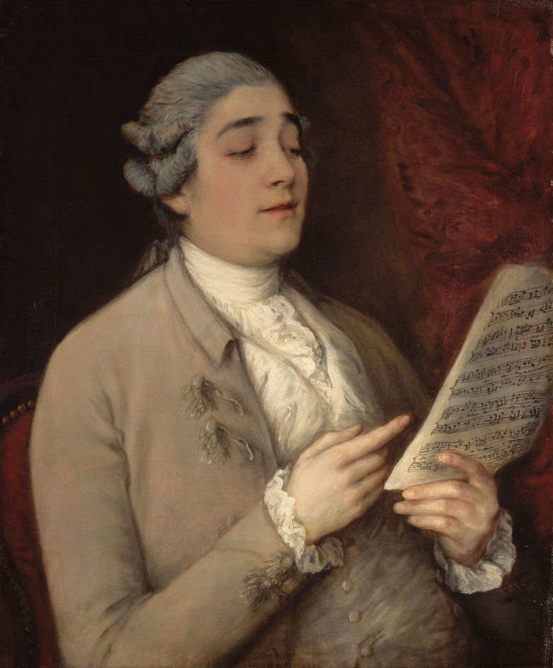 Thomas Gainsborough (Sudbury 1727-1788 London), Portrait de Giusto Ferdinando Tenducci tenant une partition. Oil on canvas. 76.6 x 64 cm (30 x 25 in). Sold for €2,193,000 on 23 February 2009