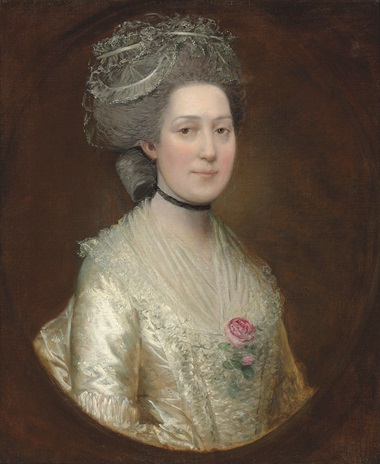 Thomas Gainsborough, R.A. (Sudbury, Suffolk 1727-88 London), Portrait of Sarah Langston, bust-length, in a white silk dress with a rose on her chest. Oil on canvas. 76.8 x 63.8 cm. Sold for £18,750 on 29 April 2014 at Christie's in London