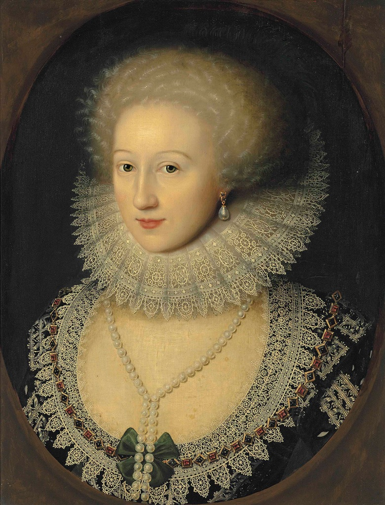William Larkin (London c. 1585-1619), Portrait of a lady, bust-length, in a black dress with a reticella lace neckline and a cartwheel ruff, with a pearl necklace and earrings, in a feigned oval. Oil on panel. 22⅝ x 17½ in (57.5 x 44.4 cm). Sold for £266,500 on 7 July 2016 at Christie's in London