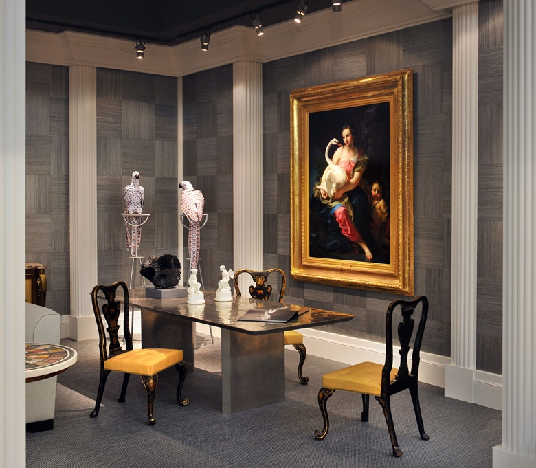 'Pairing of works together can bring out thematic links' a DrakeAnderson display at Masterpiece London juxtaposes a painting of Leda and the Swan next to contemporary sculptures of birds made from playing cards
