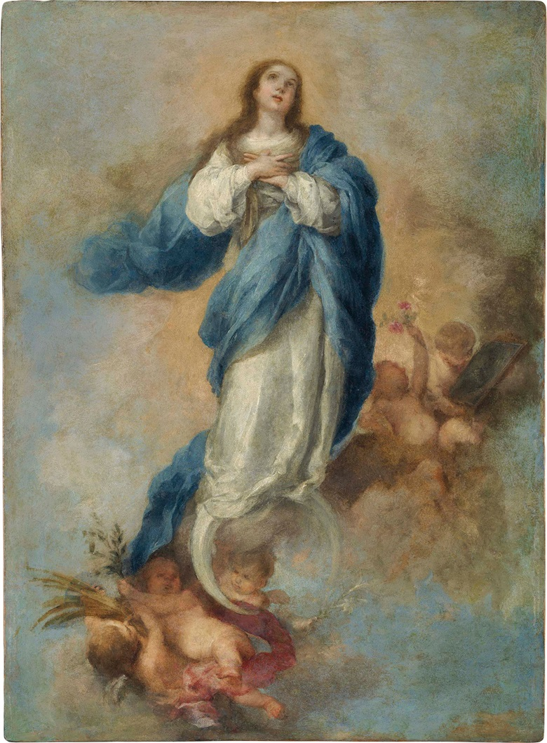 Bartolomé Esteban Murillo (1618-1682), The Immaculate Conception. Oil on copper, an engraver's plate for the Triunfo de los religiosos. 21⅛ x 15½ in (53.7 x 39.4 cm). Estimate $250,000-350,000. This lot is offered in Old Masters on 27 April at Christie's in New York