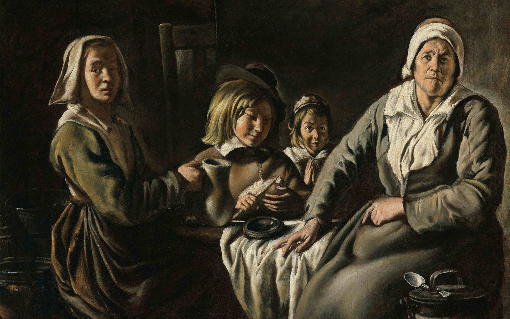 The Le Nain Brothers (Laon c. 1600-1677 Paris), Four Figures at a Table. Oil on canvas, 19⅞ x 24 in (50.5 x 61 cm). Estimate $800,000-1,200,000. This lot is offered in Old Masters on 27 April
