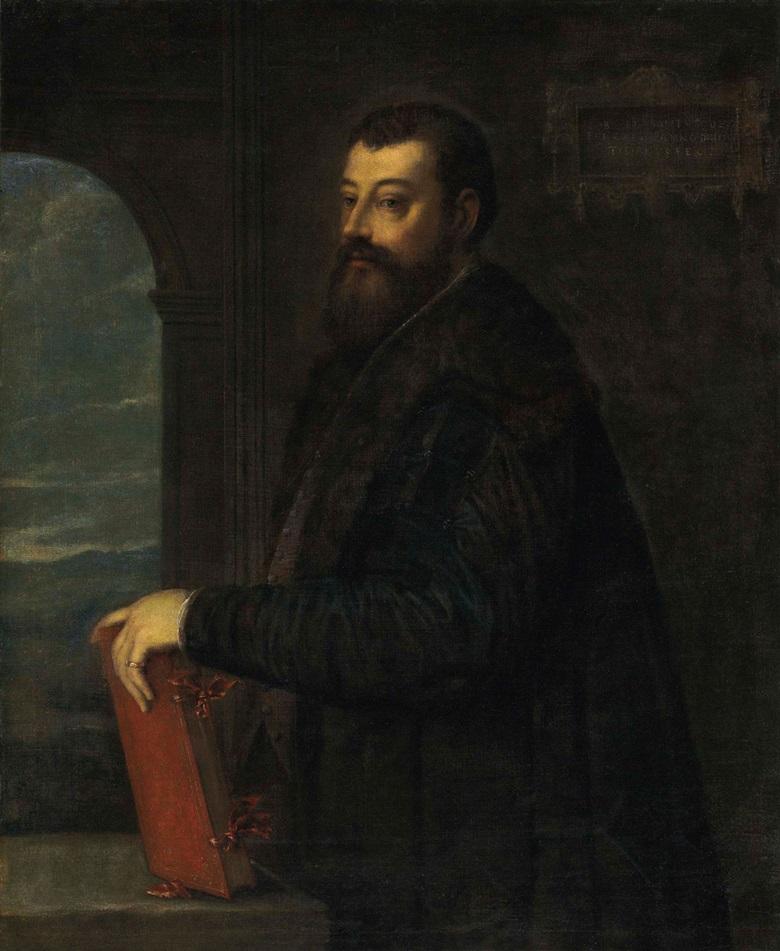 Tiziano Vecellio, called Titian (Pieve di Cadore c. 148590-1576 Venice), Portrait of Gabriele Giolito de Ferrari (c. 1508-1578), three-quarter-length. Oil on canvas. 45½ x 37⅛ in (115.6 x 94.3 cm). Estimate $600,000-800,000. This lot is offered in Old Masters on 27 April at Christie's in New York