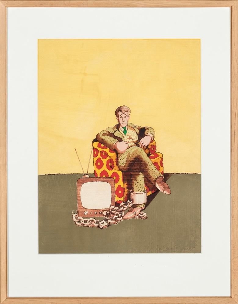 Milton Glaser (b. 1929), Television. Pen and watercolour on paper collage laid on board, 16⅞ x 13in (43 x 33cm). Estimate $500-700. This lot is offered in First Open Online, 4-13 April 2017