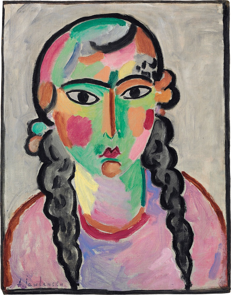 Alexej von Jawlensky (1864-1941), Das blasse Mädchen mit grauen Zopfen, circa 1916. Oil over pencil on linen-finish paper laid down on masonite, 25 x 19½ in (63.5 x 49.5 cm). Estimate $1,000,000-1,500,000. This lot is offered in Impressionist & Modern Art Evening Sale on 15 May 2017, at Christie's in New York