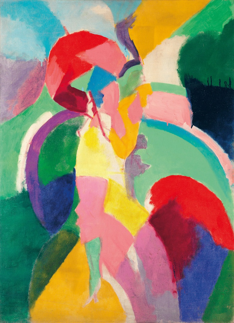 Robert Delaunay (1885-1941), Femme à l'ombrelle ou La Parisienne, 1913. Oil on canvas, 48⅜ x 35½ in (122.8 x 90.2 cm). Estimate $3,500,000-6,000,000. This lot is offered in Impressionist & Modern Art Evening Sale on 15 May 2017, at Christie's in New York