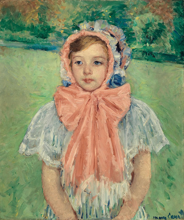 Mary Cassatt (1844-1926), Girl in a Bonnet Tied with a Large Pink Bow, 1909. Oil on canvas, 26 ¾ x 22 ½ in (68 x 57.2 cm). Estimate $2-3 million. This work is offered in American Art on 23 May at Christie's in New York
