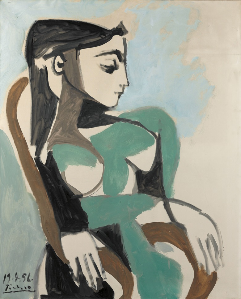 Pablo Picasso (1881-1973), Femme dans un fauteuil, 1956. Oil on canvas, 39⅜ x 31⅞ in (99.9 x 81 cm). Estimate $5,000,000-7,000,000. This lot is offered in Impressionist & Modern Art Evening Sale on 15 May 2017, at Christie's in New York