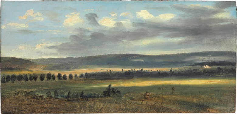 Theodore Rousseau (1812-1867), Paysage Panoramique, c. 1829-1832. Oil on board. 6 x 12⅜ in. Estimate $30,000-50,000. This work is offered in 19th Century European Art on 23 May at Christie's in New York