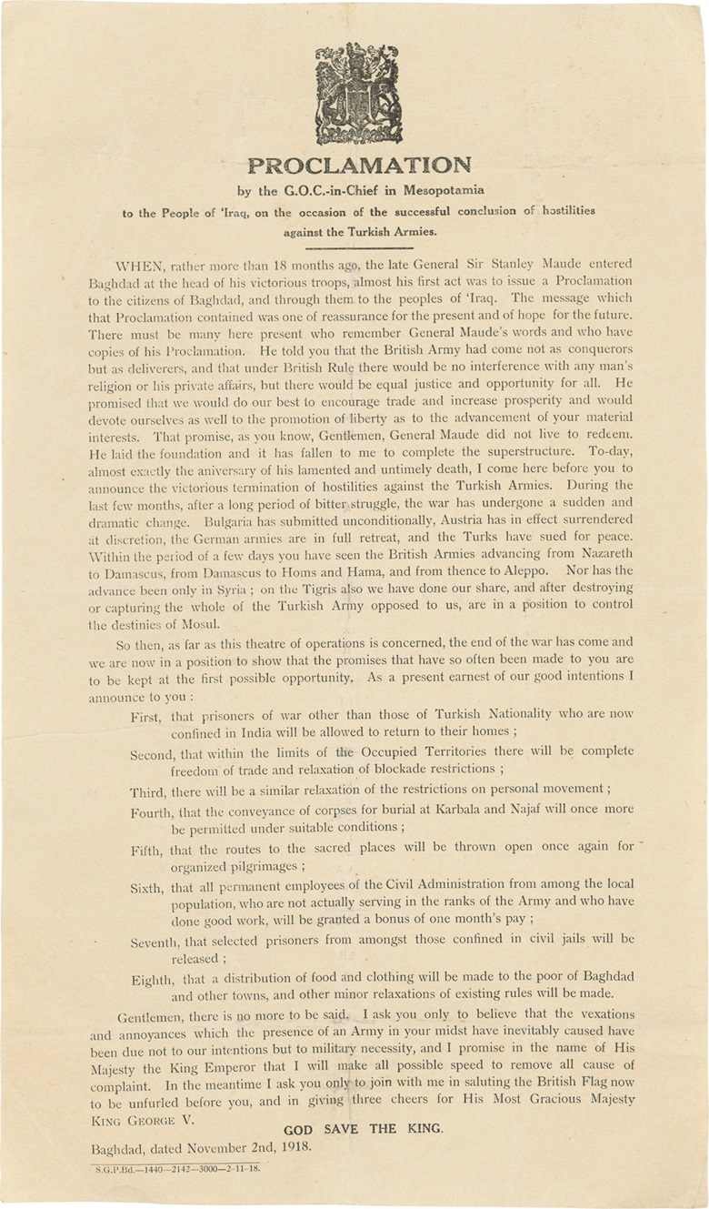 Proclamation by the G.O.C.-in-Chief in Mesopotamia. Baghdad 1918. The British Occupation of Mesopotamia. Estimate $700-1,000. This lot is offered in Uprising! Geopolitical Snapshots of the 20th Century on 20-27 April 2017, Online