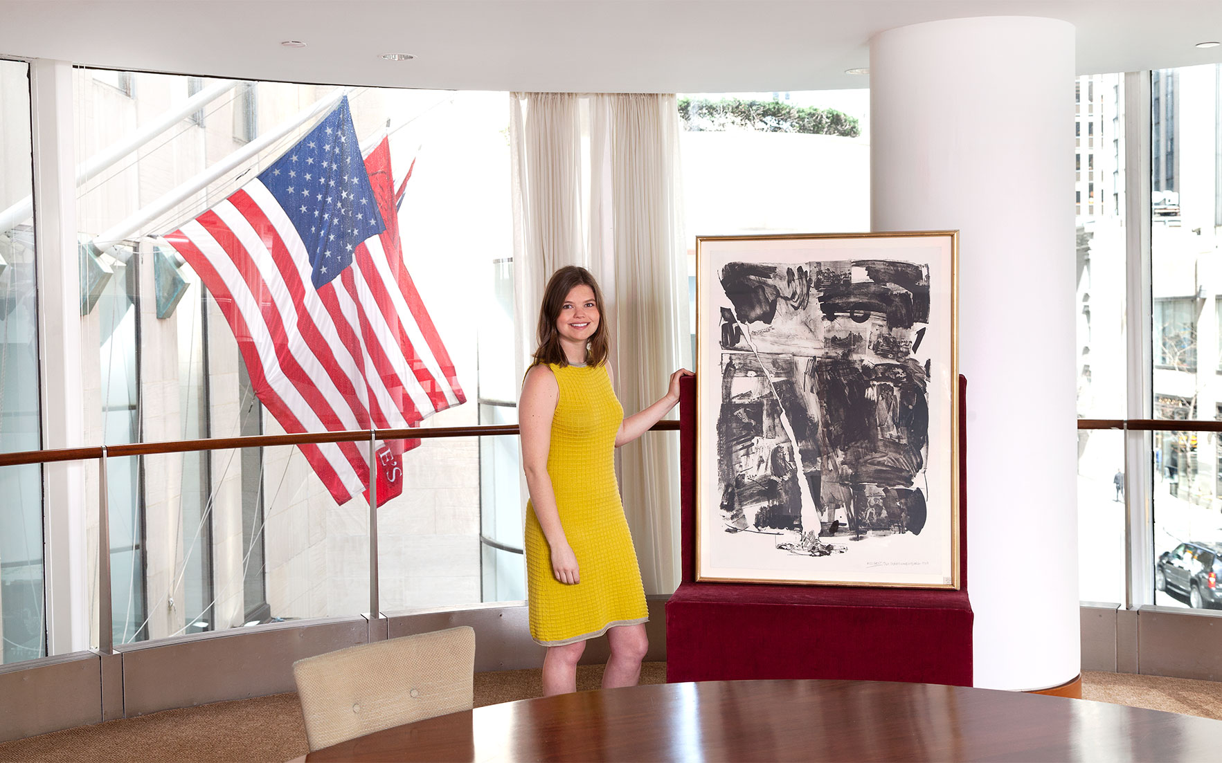 Prints specialist Elsie Widing with Robert Rauschenberg's Accident, 1963. Estimate $40,000-60,000. This lot is offered in Prints & Multiples on 19-20 April 2017, at Christie's in New York