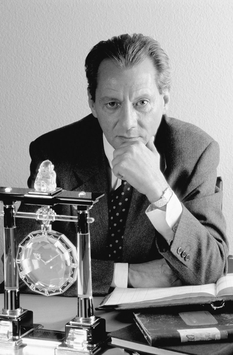 Eric Nussbaum, the first director of the Cartier Collection, with the Shinto shrine gate mystery clock, made by Couet for Cartier Paris, 1923. Sold at Christie's Geneva on 20 November 1973      p.p1 {margin 0.0px 0.0px 0.0px 0.0px; font 6.0px Helvetica}