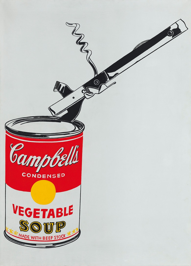 Andy Warhol (1928-1987), Big Campbells Soup Can with Can Opener (Vegetable), 1962. Casein and graphite on linen. 72 x 52 in (183 x 132 cm). Estimate on request. This work is offered in the Post-War and Contemporary Art Evening Sale on 17 May at Christie's in New York. © 2017 The Andy Warhol Foundation for the Visual Arts, Inc.  Artists Rights Society (ARS), New York