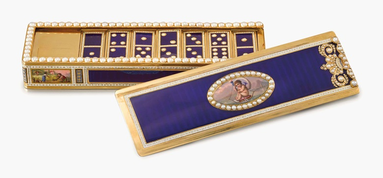 Moulinié, Bautte & Cie. An exceptional and magnificent, probably unique 18K gold enamel and pearl-set musical domino box with 28 18K gold enamel and pearl-set dominos, made for the Chinese market. Signed MB & C for Moulinié, Bautte & Cie, c. 1808. Estimate SFr.300,000-500,000. This lot is offered in Rare Watches and a Rolex Afternoon on 15 May 2017 at Christie's in