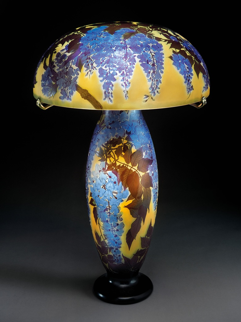 Gallé. A rare and important Wisteria table lamp. 30 in (76.2 cm) high, 20½ in (52.1 cm) diameter of shade. Sold for $331,500 on 7 June 2017 at Christie's in New York