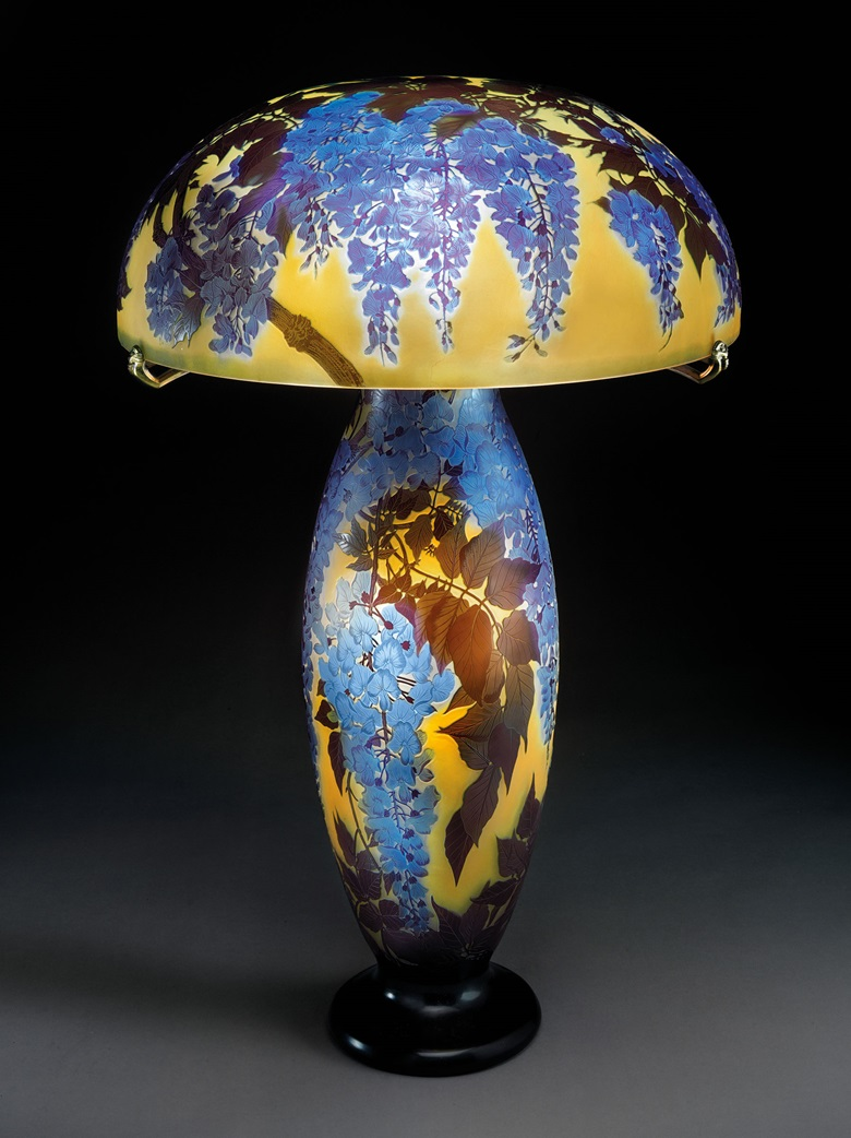 Gallé. A rare and important Wisteria table lamp. 30 in (76.2 cm) high, 20½ in (52.1 cm) diameter of shade. This lot was offered in Design on 7 June 2017 at Christie's in New York and sold for $331,500
