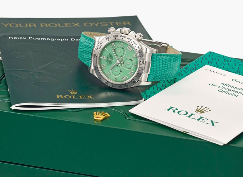 Rolex. A fine new old stock 18K white gold automatic chronograph wristwatch with chrysoprase green dial. Signed Rolex, Oyster Perpetual, Cosmograph Daytona, Beach model, ref. 116519, case no. K636515, manufactured in 2001. Estimate SFr. 20,000-40,000. This lot is offered in Rare Watches and a Rolex Afternoon on 15 May 2017 at Christie's in Geneva