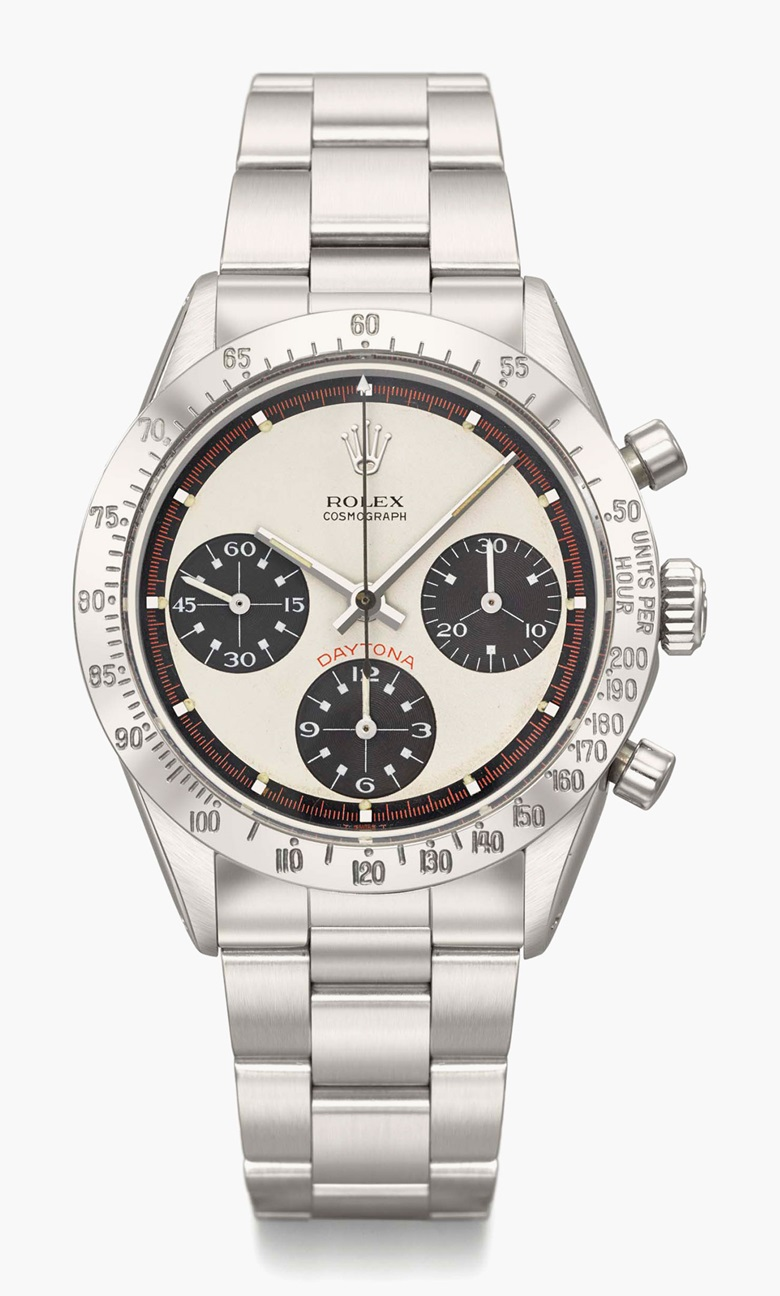 Rolex. A very fine and rare stainless-steel chronograph wristwatch with Paul Newman dial, bracelet and box. Signed Rolex, Cosmograph, Daytona, ref. 6239, case no. 1'875'537, circa 1968. Estimate SFr. 90,000-140,000. This lot is offered in Rare Watches and a Rolex Afternoon on 15 May 2017 at Christie's in Geneva
