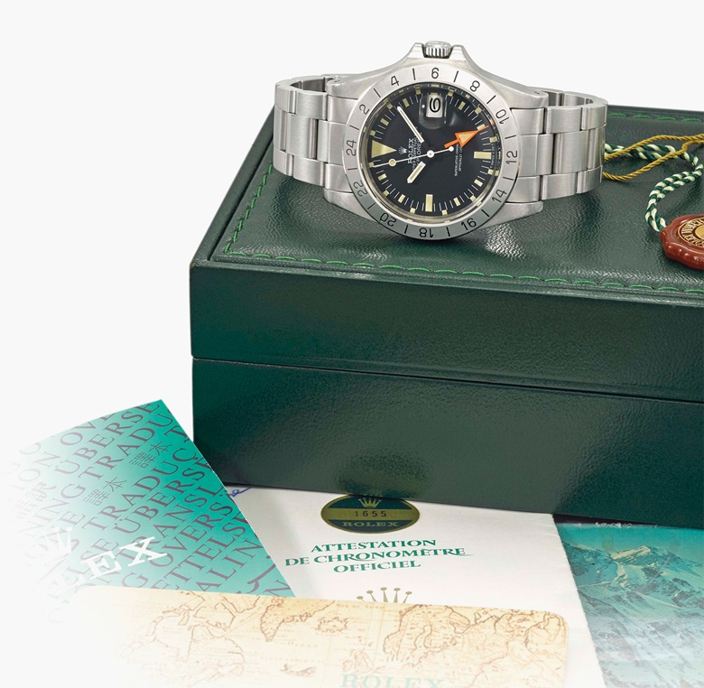 Rolex. A very fine stainless-steel automatic dual-time wristwatch with centre seconds, date, bracelet, original guarantee and box. Signed Rolex, Oyster Perpetual Date, Explorer II, Steve McQueen model, ref. 1655, case no. 7'431'939, circa 1982. Estimate SFr. 12,000-18,000. This lot is offered in Rare Watches and a Rolex Afternoon on 15 May 2017 at Christie's in Geneva