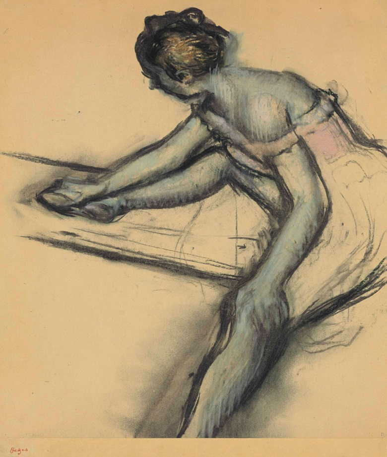Edgar Degas (1834-1917), Danseuse assise de profil, circa 1896. Charcoal and pastel on joined paper laid down on board, Image size 18⅛ x 16⅝ in (46.1 x 42.2 cm), Sheet size 20¾ x 20¼ in (52.7 x 51.5 cm). Estimate $800,000-1,200,000. This lot is offered in Impressionist & Modern Art Evening Sale on 15 May 2017, at Christie's in New York