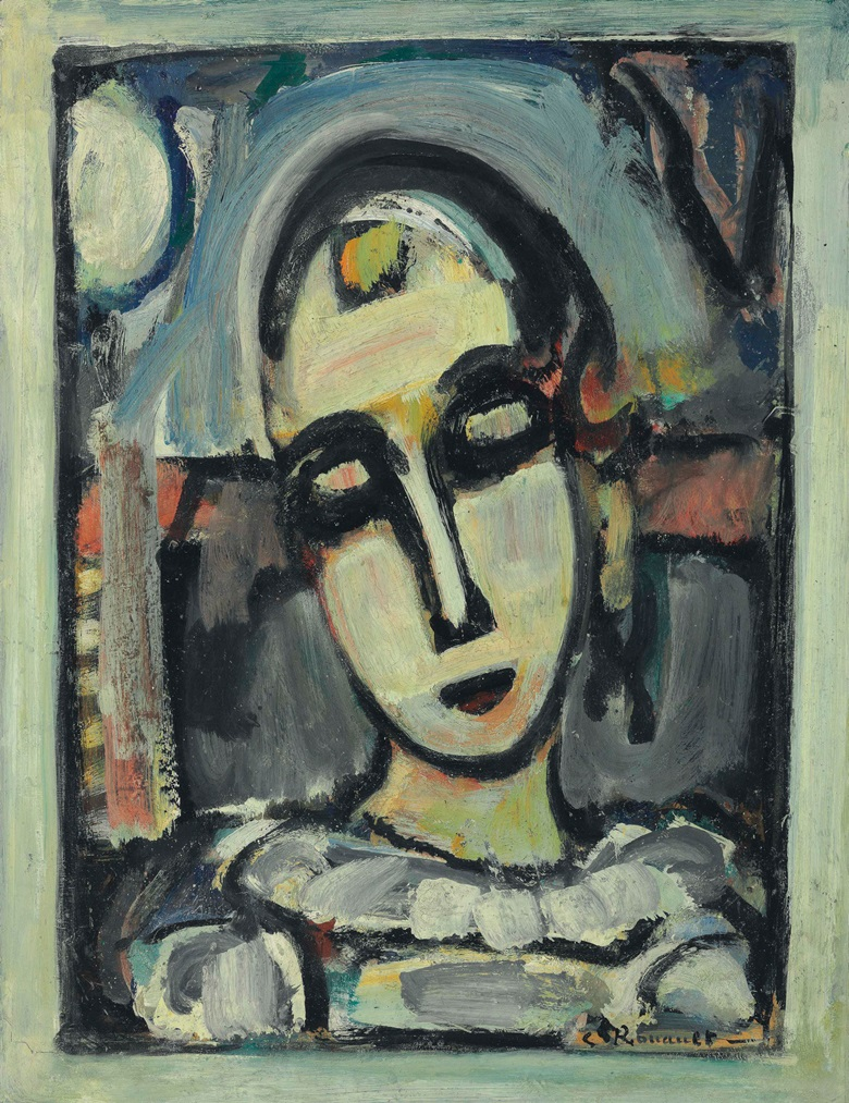 Georges Rouault (1871-1958), Pierrot (à la lune), 1939. Oil on paper laid down on canvas, 25½ x 19⅝ in (64.8 x 49.9 cm). Estimate $250,000-350,000. This lot is offered in Impressionist & Modern Art Day Sale on 16 May 2017, at Christie's in New York