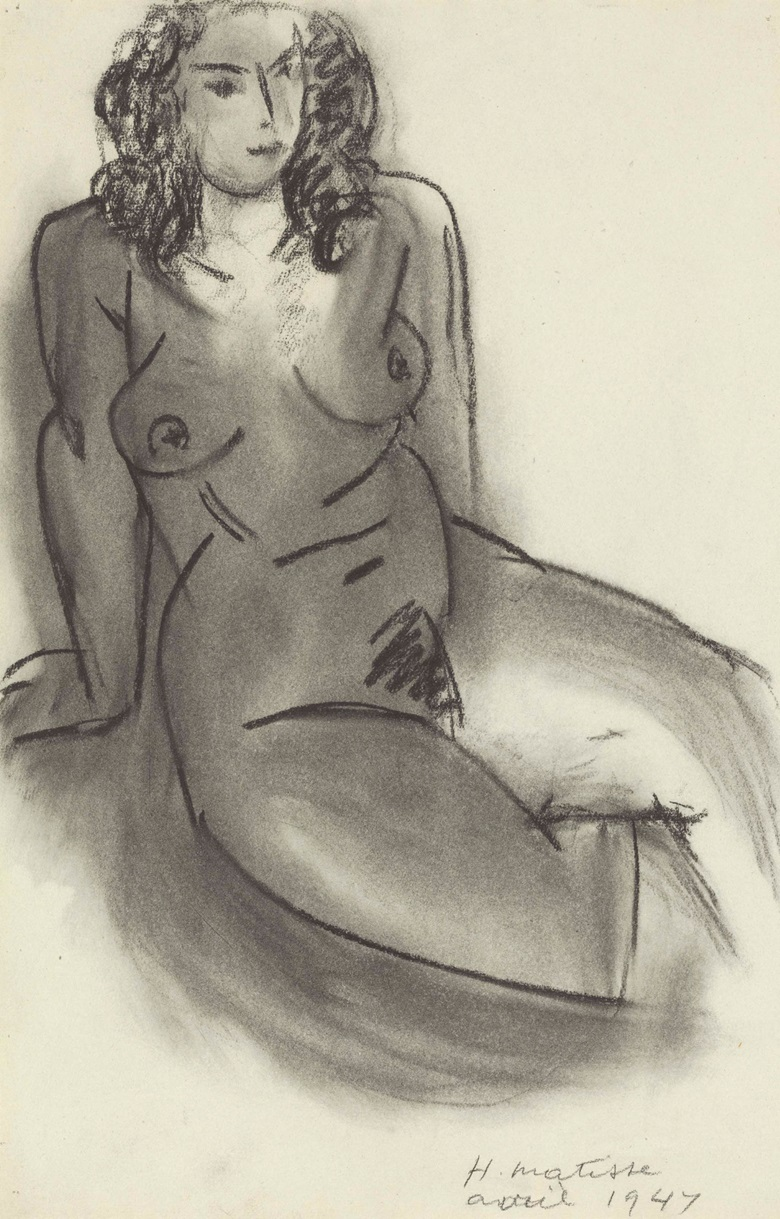 Henri Matisse (1869-1954), Femme nue assise, 1947. Charcoal and estompe on paper, 18⅞ x 12⅜ in (47.9 x 31.4 cm). Estimate $300,000-500,000. This lot is offered in Impressionist & Modern Art Works on Paper on 16 May 2017, at Christie's in New York