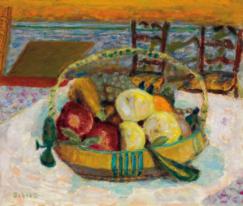 Pierre Bonnard (1867-1947), Corbeille de fruits dans la salle à manger du cannet, 1928. Oil on canvas, 20¼ x 23⅝ in (51.3 x 60.1 cm). Estimate $1,200,000-1,800,000. This lot is offered in Impressionist & Modern Art Evening Sale on 15 May 2017, at Christie's in New York