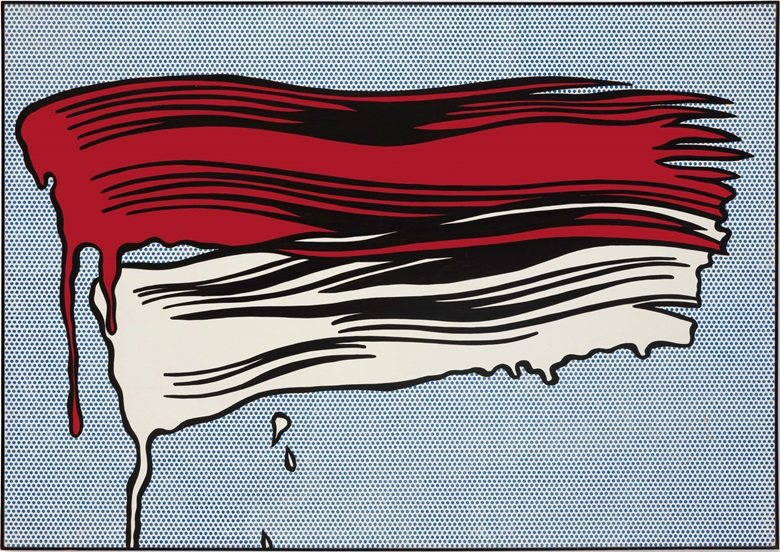Roy Lichtenstein (1923–1997), Red and White Brushstrokes, 1965. Oil and Magna on canvas. 48 × 68 in (121.9 × 172.7 cm). Estimate $25,000,000-35,000,000. © Estate of Roy LichtensteinDACS 2017. This work is offered in the Post-War and Contemporary Art Evening Sale on 17 May at Christies in New York