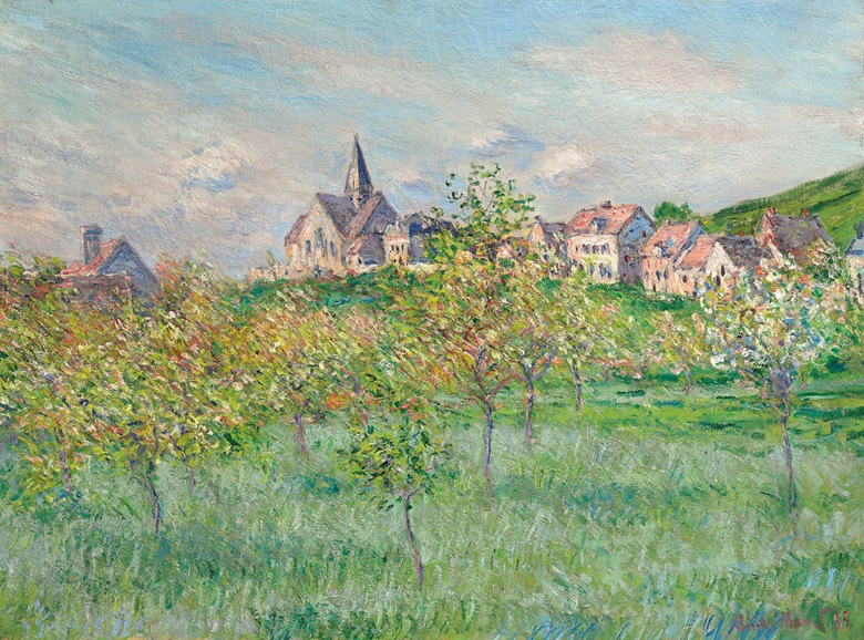 Claude Monet (1840-1926), Printemps à Giverny, effet daprès-midi, 1885. Oil on canvas. 23¾ x 32⅛ in (60.4 x 81.4 cm). This lot was offered in the Impressionist & Modern Art Evening Sale on 15 May 2017 at Christie's in New York and sold for $4,167,500
