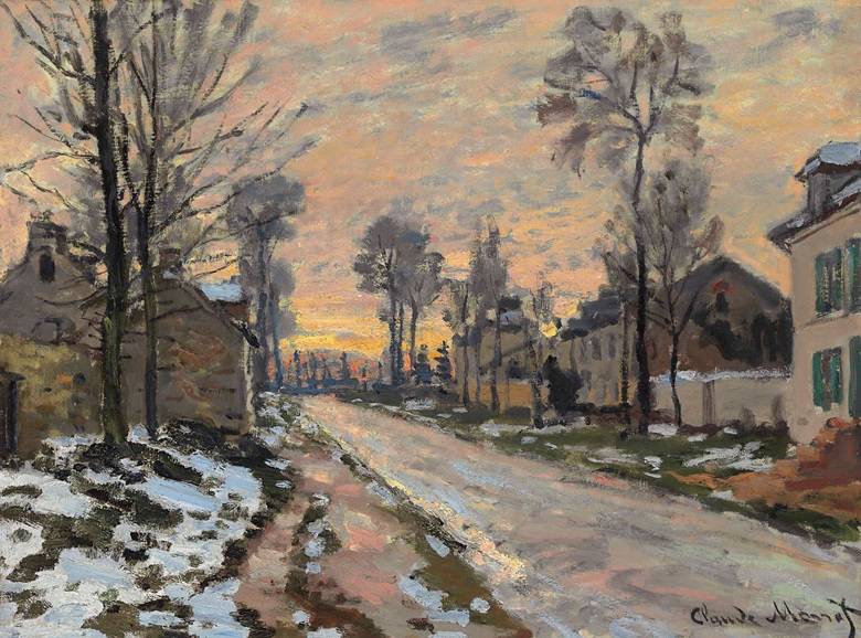 Claude Monet (1840-1926), Route à Louveciennes, neige fondante, soleil couchant, circa 1869-1870. Oil on canvas, 16⅛ x 21⅜ in (41 x 54.2 cm). This lot was offered in the Impressionist & Modern Art Evening Sale on 15 May 2017 at Christie's in New York and sold for $4,727,500