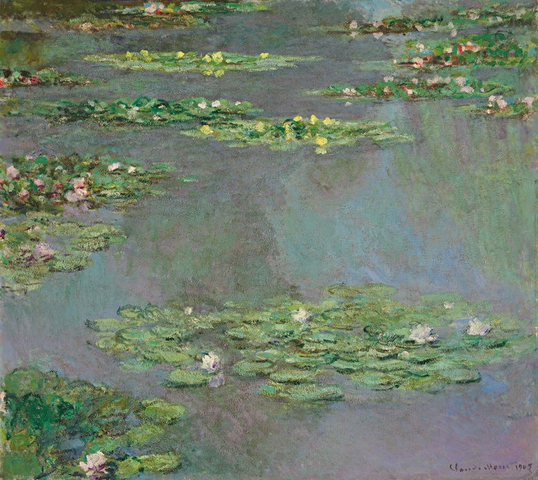 Claude Monet (1840-1926), Nymphéas, 1905. Oil on canvas. 34¾ x 38¾ in (88.3 x 99.5 cm). Sold for $43,762,500 on 7 November 2012 at Christie's in New York
