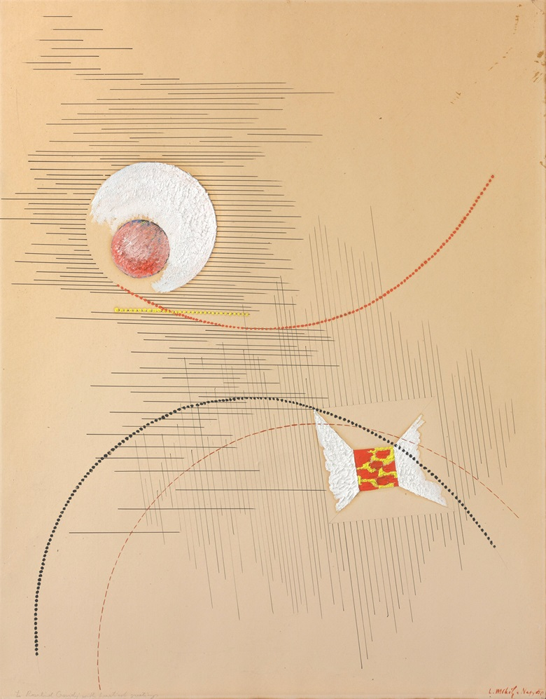 László Moholy-Nagy (1895–1946), Composition, 1940. Oil, pen and India ink and pencil on card. 28 x 21⅞ in (71.2 x 55.6 cm). Sold for $118,750 on 16 May 2017 at Christie's in New York