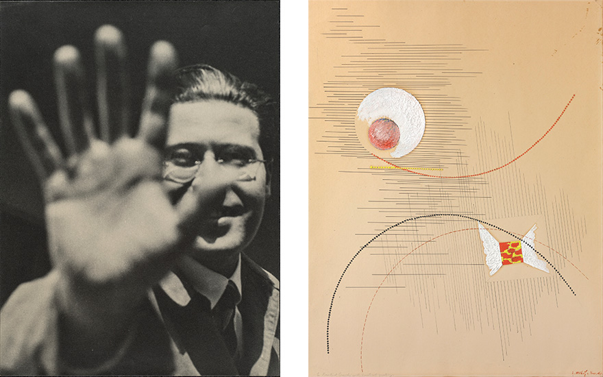 Main image (Left) László Moholy-Nagy, Photograph (Self-Portrait with Hand), 192529, printed 194049. Gelatin silver print. 9 516 × 7 in. Galerie Berinson, Berlin © 2017 Hattula