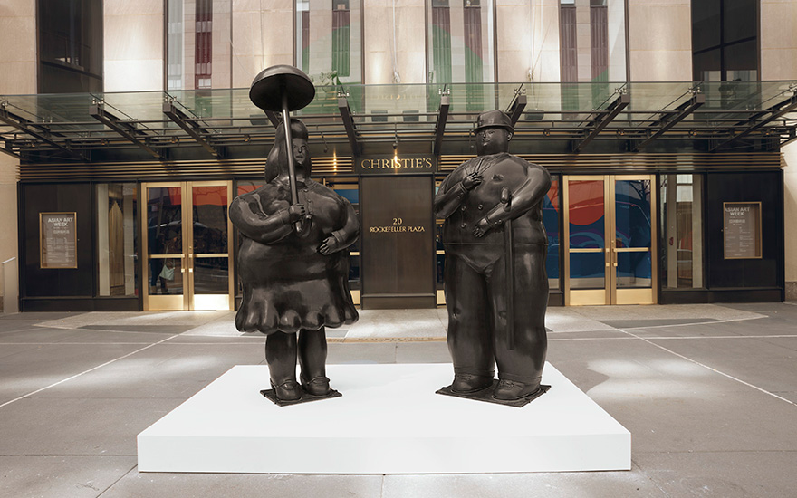 Fernando Botero (b. 1932), Woman with an Umbrella and Man with a Cane, circa 1977. Bronze. Artists proof one of two; edition of six. 90 x 35 x 30 in (228.6 x 88.9 x 76.2 cm). Sold for $1,807,500