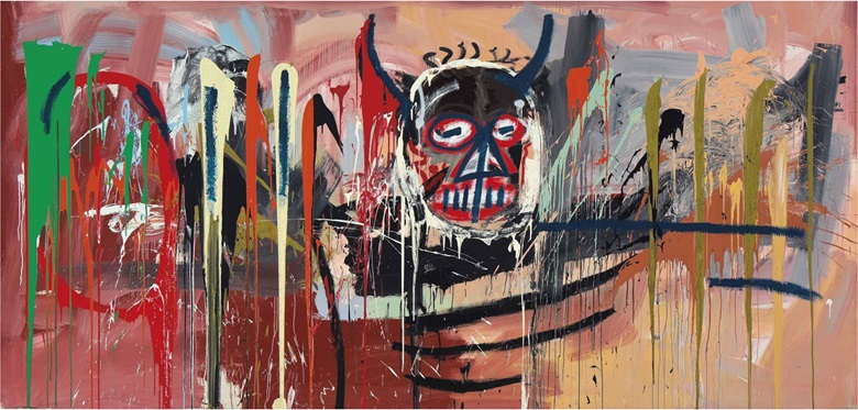 Jean-Michel Basquiat (1960-1988), Untitled, 1982. Acrylic on canvas. 94 x 197 in (238.7 x 500.4 cm). Sold for $57,285,000 on 10 May 2016 at Christie's in New York. Artwork © The Estate of Jean-Michel Basquiat  ADAGP, Paris and DACS, London 2020