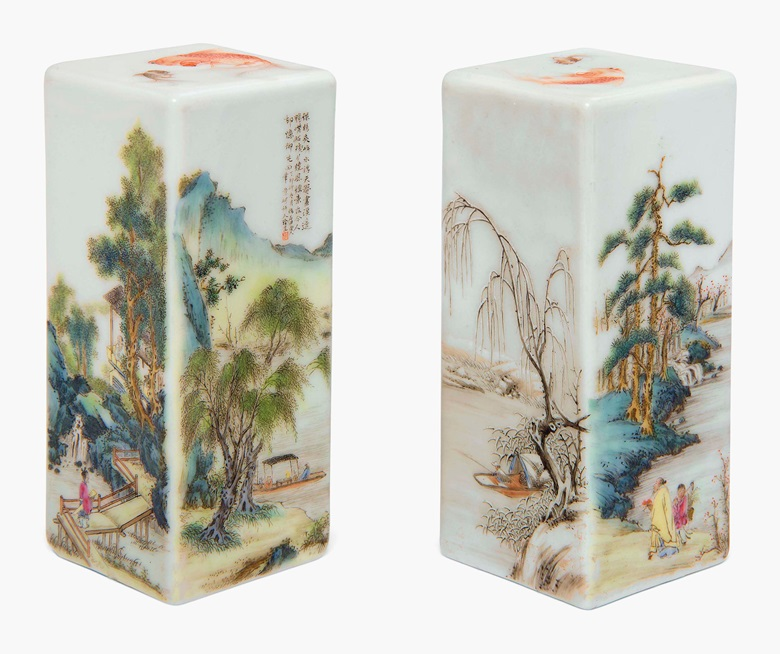 A fine and rare pair of famille rose 'landscape' seals. Republic period (1912-1949), dated. 3⅝ in (9.2 cm) high. Estimate £30,000-50,000. Sold for £221,000 in Chinese Ceramics, Works of Art and Textiles on 12 May 2017 at Christie's in London, South Kensington
