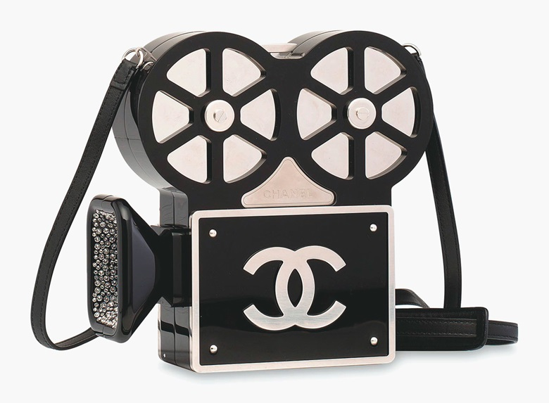 A rare, black Paris-Rome movie camera evening bag with crystals, Chanel 2016. Estimate $100,000-150,000  $13,000-19,000. This lot is offered in Handbags & Accessories  on 31 May 2017 at Christie's in Hong Kong