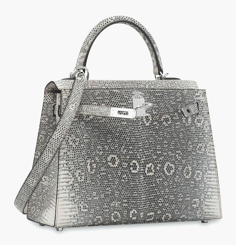 A rare, shiny Ombré Salvator Lizard Sellier Kelly 25 with palladium hardware, Hermès 2011. Estimate HK$150,000-200,000  $20,000-26,000. This lot is offered in Handbags & Accessories  on 31 May 2017 at Christie's in Hong Kong