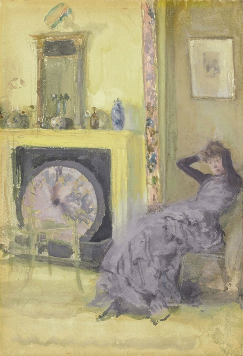 James McNeill Whistler (1834-1903), The Yellow Room. Watercolour and gouache on paperboard, 9¾ x 7 in (24.8 x 17.8 cm). This lot was offered in American Art on 23 May 2017, at Christie's in New York